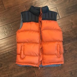 Boys Orange/Black Puffer Vest Size M 7/8
